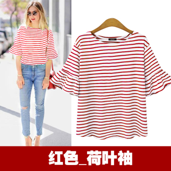 Chic Korean-style blue and white bell sleeve striped base shirt T-shirt