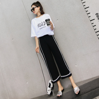 Chic Korean-style female New style high-waisted ankle-length pants wide leg pants