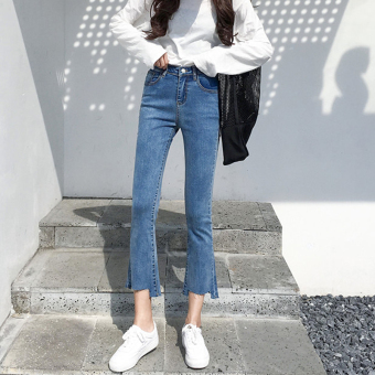 Chic New style female autumn and dress New style raw-cut jeans pants