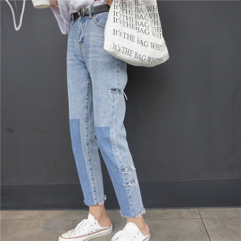 Chic versatile female slimming ankle-length straight-leg pants jeans