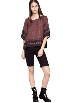 Chicnova Ethnic Style Print Batwing Sleeves T-shirt (Red) - picture 2