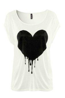 Chicnova Heart Print T-Shirt (White Black)