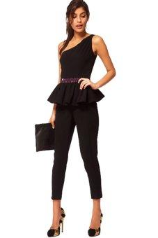 Chicnova Waist Beaded Jumpsuit (Black)