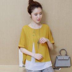 Chiffon Blouse Shirt Women New Summer vintage Casual Short Sleeve Shirts Female Faux Two Piece Ladies
