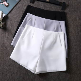 Chiffon high-waisted suit casual shorts (White)