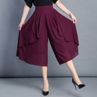 Chiffon thin high-waisted LOOESN casual pants wide leg pants culottes (Purple)