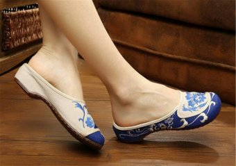 Chinese Embroidered Shoes Women Cotton sandals drag Blue and Green36 - 2
