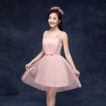 Chinese mid-length New style winter dress for women bridesmaid dress for women (B models bare Powder)