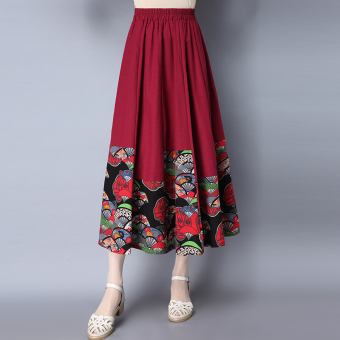 Chinese-style artistic cotton linen New style printed half-length skirt (Wine red color) (Wine red color)