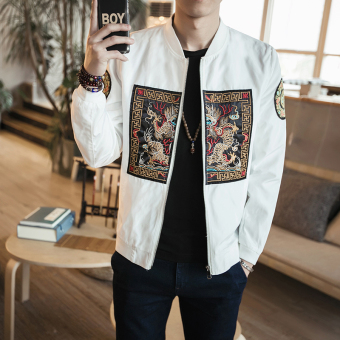 Chinese-style autumn New style robes embroidered jacket (White)