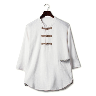 Chinese-style Chinese cotton linen summer length sleeves Top linen shirt (Ivory)