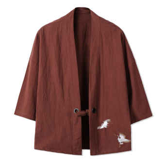 Chinese-style Chinese embroidery Crane Chinese clothing sleeve cardigan cotton jacket (Coffee color)