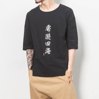Chinese-style embroidered men's short sleeved spirit LOOESN Top T-shirt (T37 SH black models)