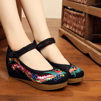 Chinese-style female autumn New style breathable semi-high heeled shoes embroidered cloth shoes (Thick bottomed Phenix black)