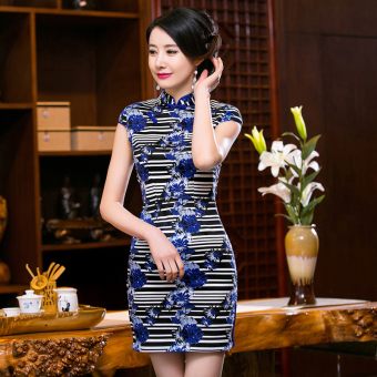 Chinese Style Mini Dresses Stripe Pattern Low Slits Cheongsam (Blue-20)