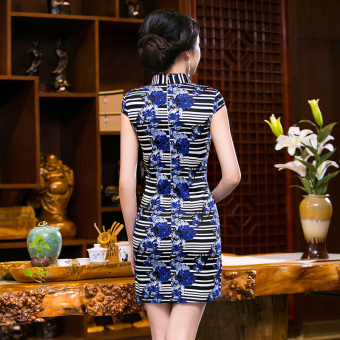 Chinese Style Mini Dresses Stripe Pattern Low Slits Cheongsam (Blue-20) - 4