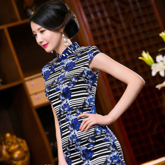 Chinese Style Mini Dresses Stripe Pattern Low Slits Cheongsam (Blue-20) - 3