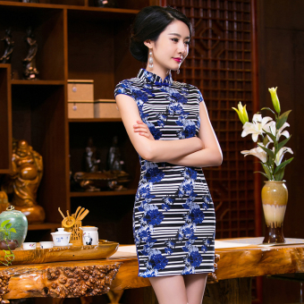 Chinese Style Mini Dresses Stripe Pattern Low Slits Cheongsam (Blue-20) - 2