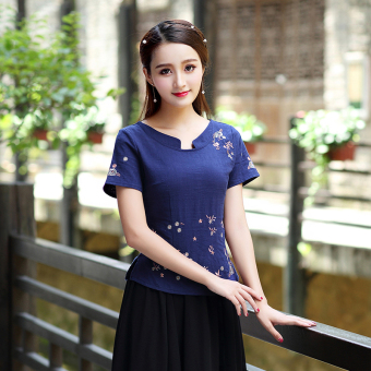 Chinese-style national style cotton linen Top costume Top Cheongsam (Blue Top one-piece)