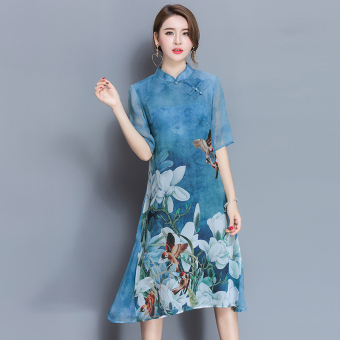 Chinese-style spring and summer new improved Cheongsam (Blue)