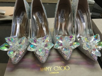 Cinderella diamond fine with pointed shoes wedding shoes (11cm dream color crystal)