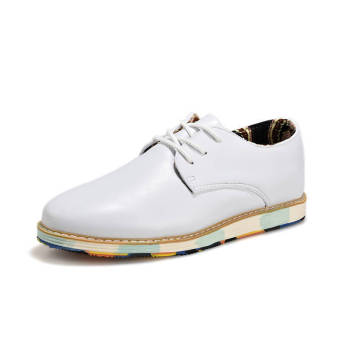 Classic Fashion Simple Men Leather Flat Shoes White