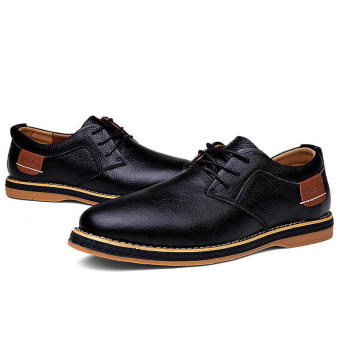 Classic Men Leather Lace-Ups Formal Shoes (Black)