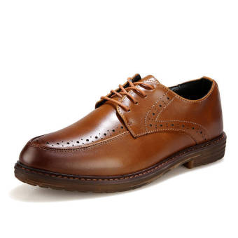 Classic Men Leather Lace-Ups Shoes Brown