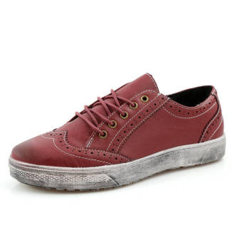Classic Simple Men Leather Flat Shoes Red