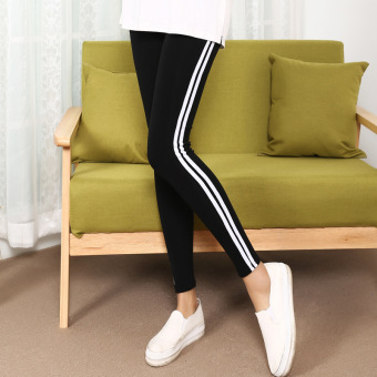 Classic Spring and Autumn thin elastic side ankle-length pants (Black)