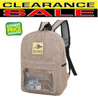 Clearance Sale!!! Pilot 5021 Korean Transparent Window Changeable Pattern Style Large Capacity Unisex casual Backpack(Khaki)