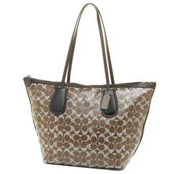 Coach 33504 Taxi Zip Top Tote Bag (Brown/Black)