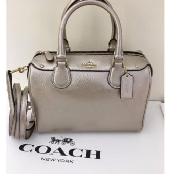 COACH MINI BENNETT SATCHEL IN METALLIC LEATHER SILVER/GUNMETAL