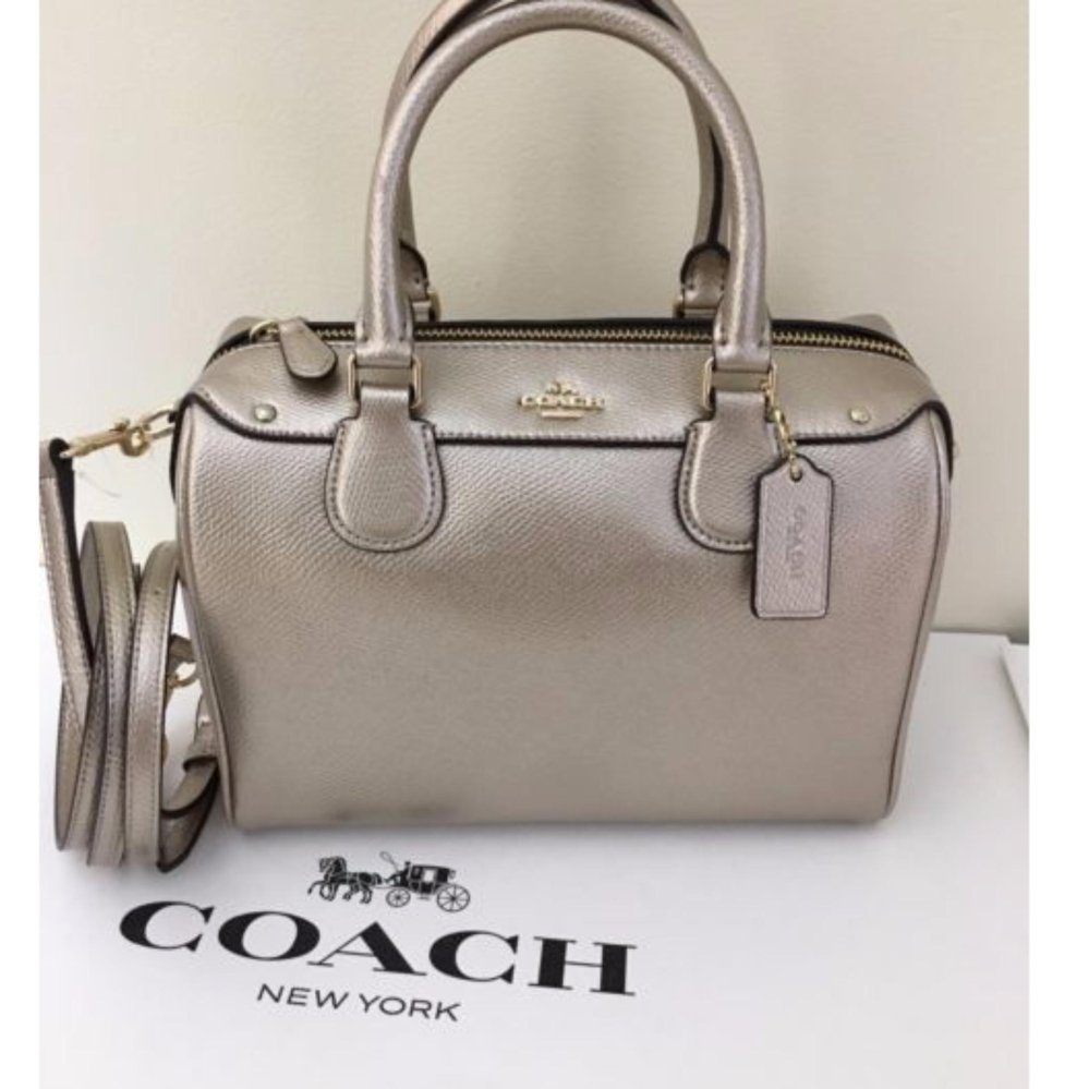 093f5aa66435 ... where can i buy coach mini bennett satchel in metallic leather silver  gunmetal 7be6c 5a6bf