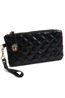 Cocotina PU Leather Quilted Handbag Zipper Wallet Purse Black