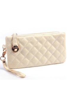 Cocotina PU Leather Quilted Handbag Zipper Wallet Purse White