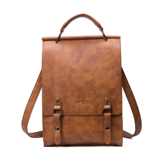 College style leather female large capacity college student's school bag Korean-style shoulder bag (Brown)