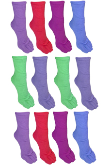 Colored Unisex Toe Socks Set of 12 (Multicolor) - 2