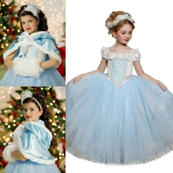 (Color:light Blue ) Frozen Kids Girls Dresses Costume Snow White Princess Party Fancy Dress + Cape - intl