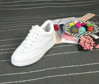 Comfortable leather round lace Stylish shoes white shoes (White Color)