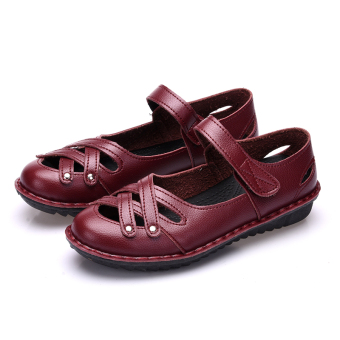 Comfortable soft bottom summer flat work shoes women's sandals (Red 306)