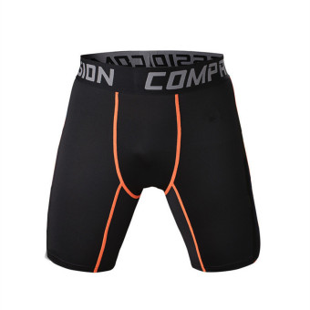 Compression Tights Shorts Men Running Clothes Breathable elasticQuick Dry Training Basketball Football Gym Shorts Sports Wear(BlackOrange Line) - intl Price Philippines