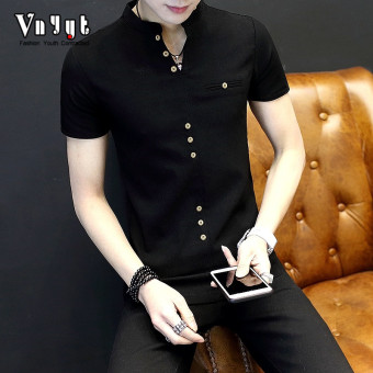 Cool men New style youth T-shirt polo shirt (1705 black)