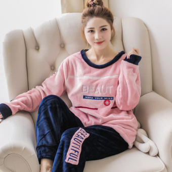 Coral velvet female winter thick tracksuit pajamas (DY lettered 8)