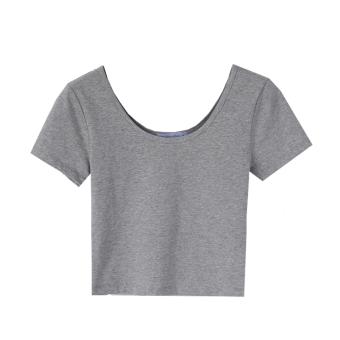 Cotton female Slim fit leak female Top T-shirt (Gray)