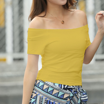 Cotton Female Student Summer bottoming shirt Top (Ginger yellow)