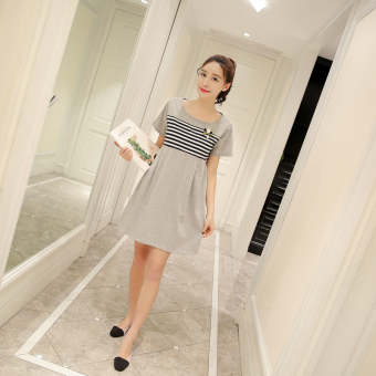 Cotton milk dress New style nursing dress nursing clothes (Gray)