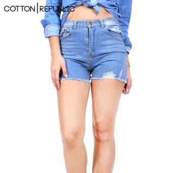 Cotton Republic Comfortable Denim Shorts - Sexy Brithney (DenimBlue) - 2