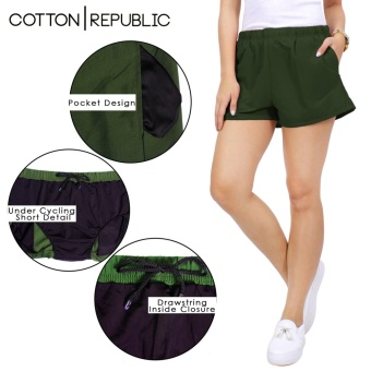 Cotton Republic Comfortable Walking Shorts with Cycling Shortsunder (Green) - 3