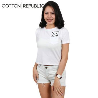 Cotton Republic Pocket Design Crop Top/Blouse - Panda (White) Price Philippines